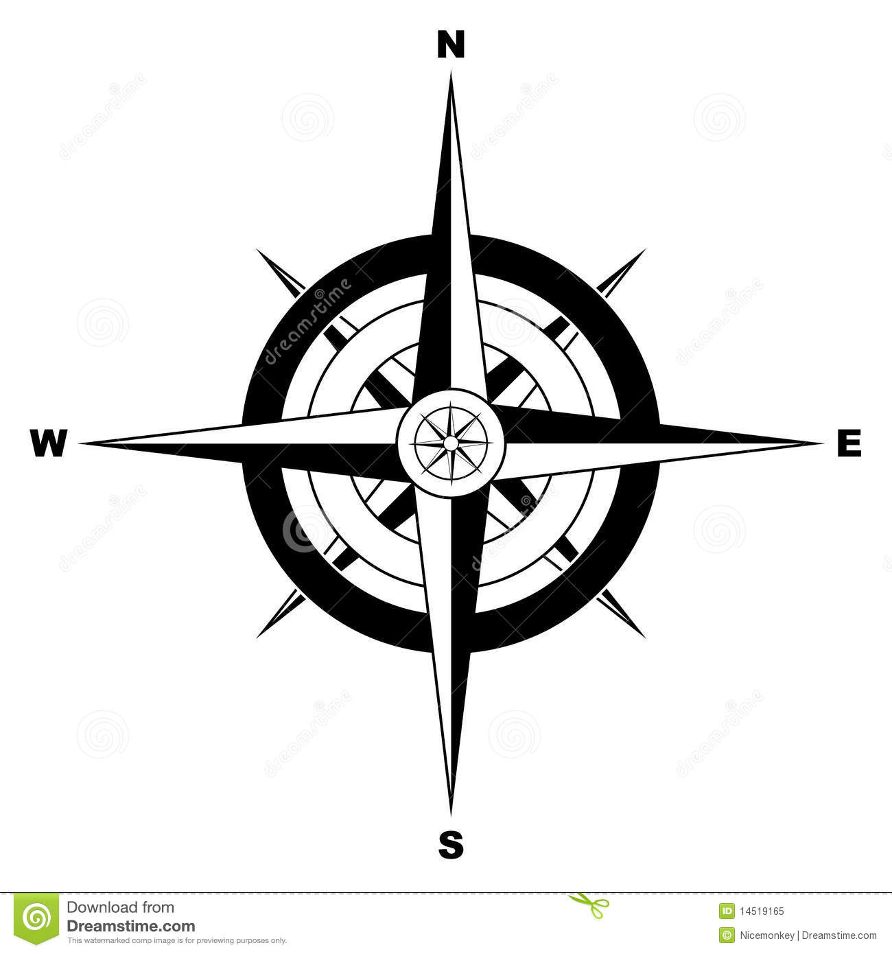 Simple Compass Cartoon Vector