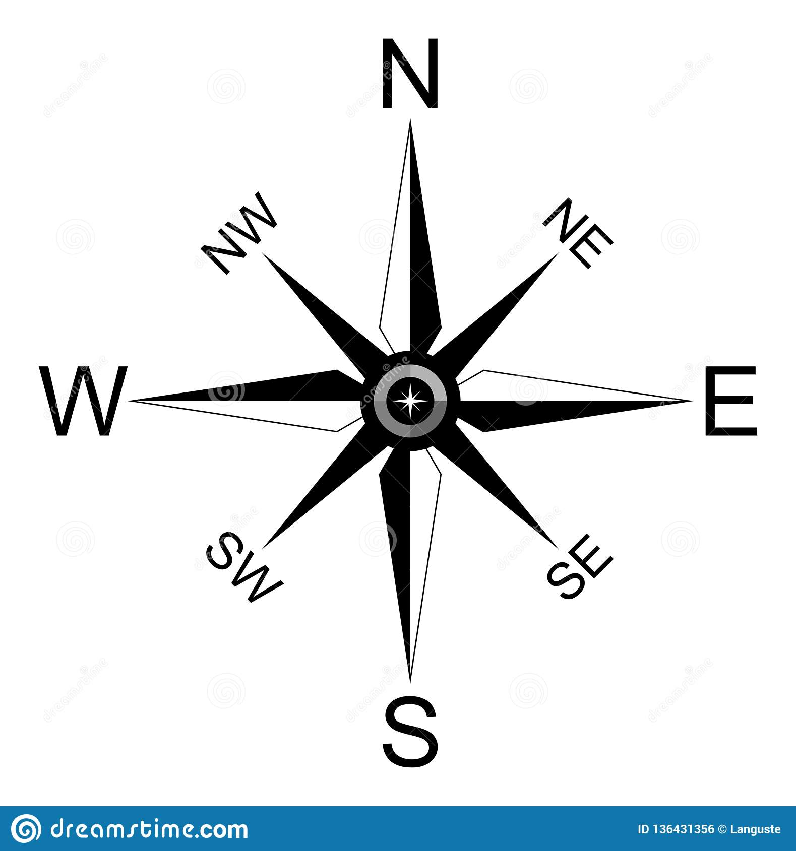 Simple Compass Rose For Marine Or Nautical Navigation And