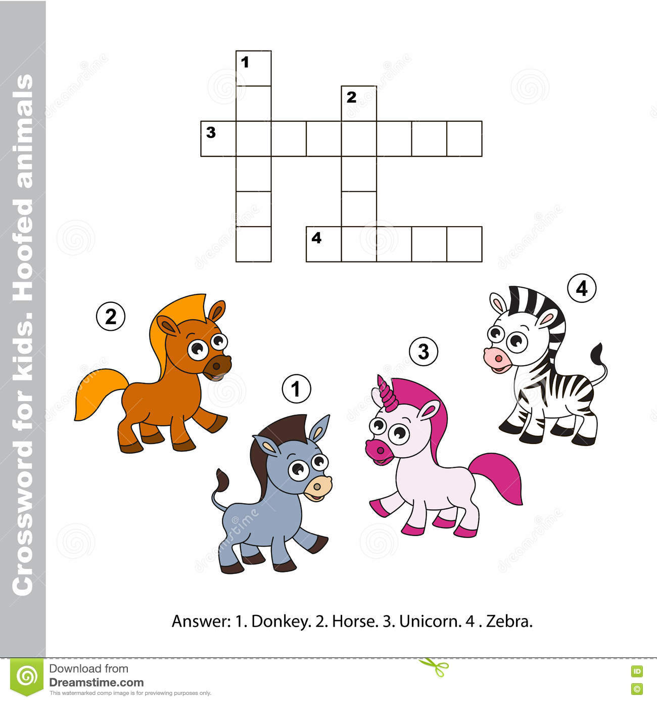 The Simple Crossword For Kids Stock Vector