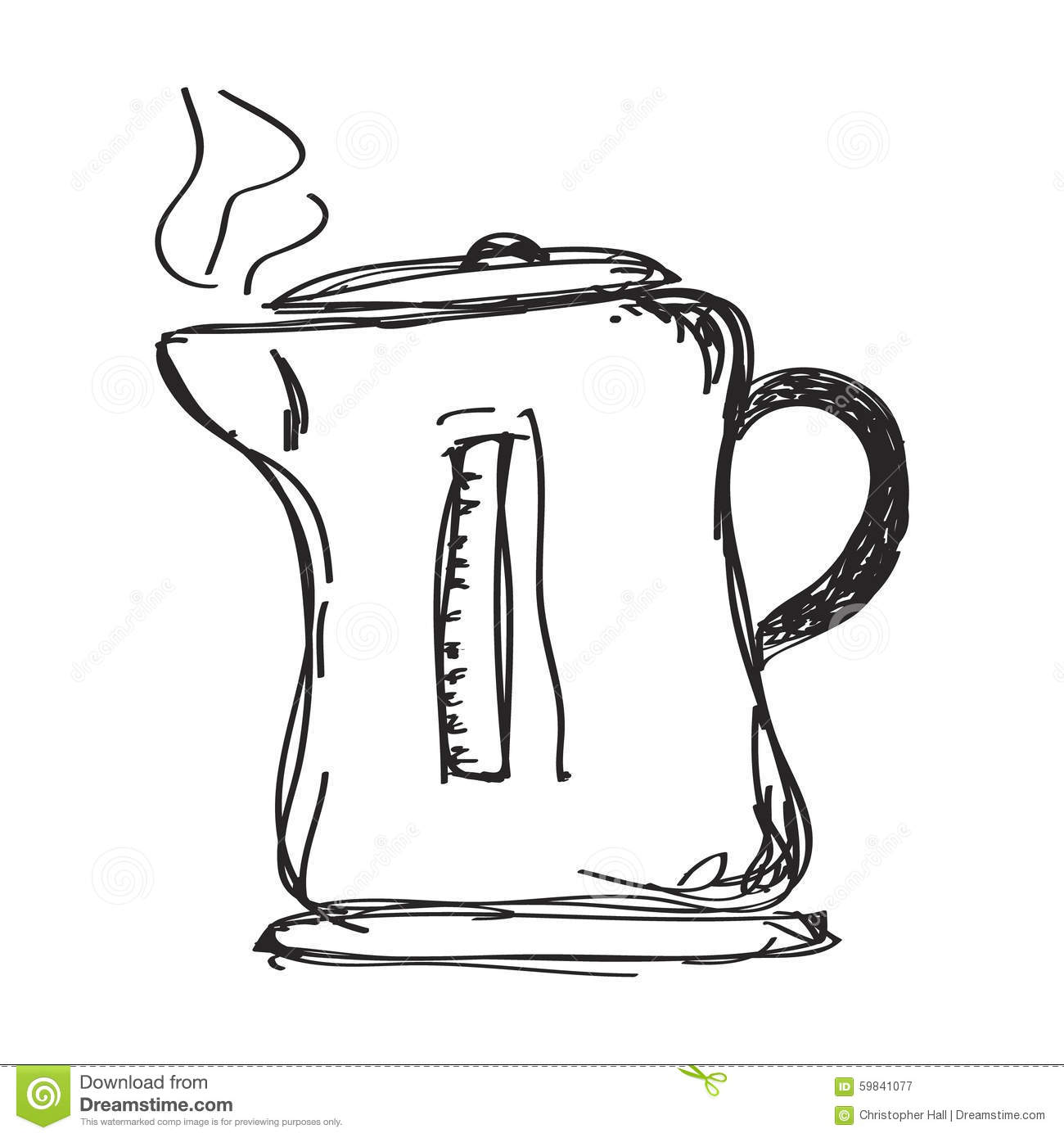 Simple Doodle Of A Kettle Stock Vector Illustration Of