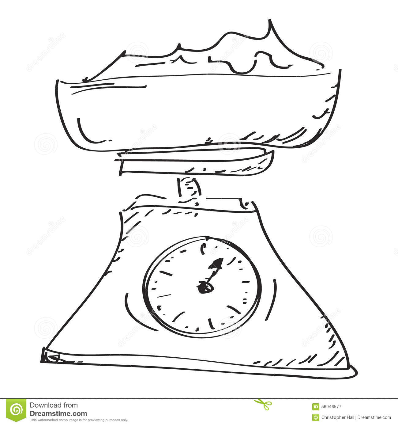 Simple Doodle Of A Set Of Weighing Scales Stock Vector