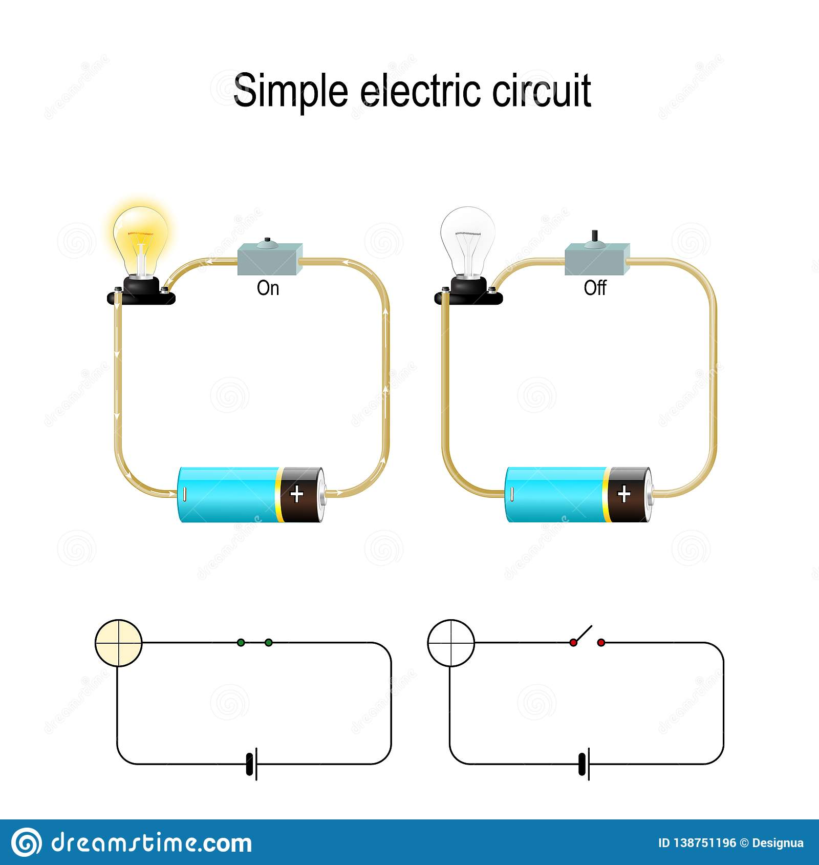 hight resolution of simple electric circuit electrical network and lighting lamp