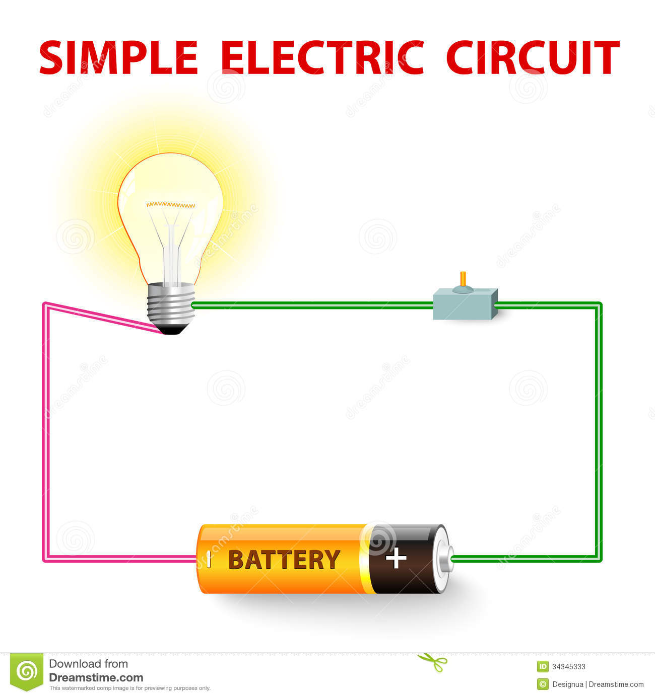 simple light wiring diagram 2003 toyota celica radio a electric circuit stock vector illustration of