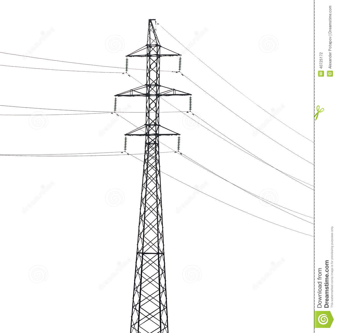 Simple Electrical Steel Pylon Isolated On White Stock Photo