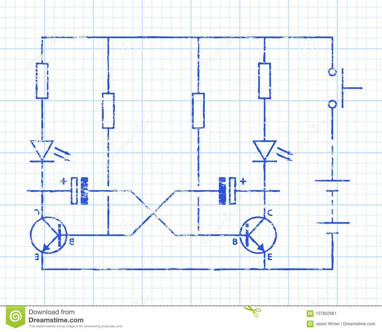 hight resolution of simple flip flop circuit hand drawn on graph paper background