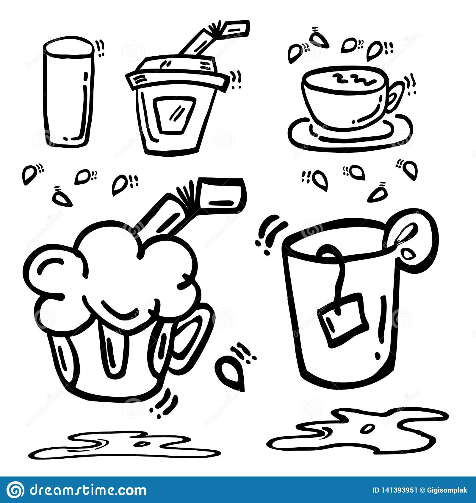 Simple Hand Draw Sketch Hot And Cold Soft Drink At