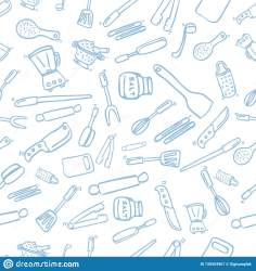 Simple Hand Draw Sketch Seamless Pattern Blue Background Cook Ware For Wallpaper Backdrop Wrapping Paper Or Other Stock Vector Illustration of background fork: 139554967