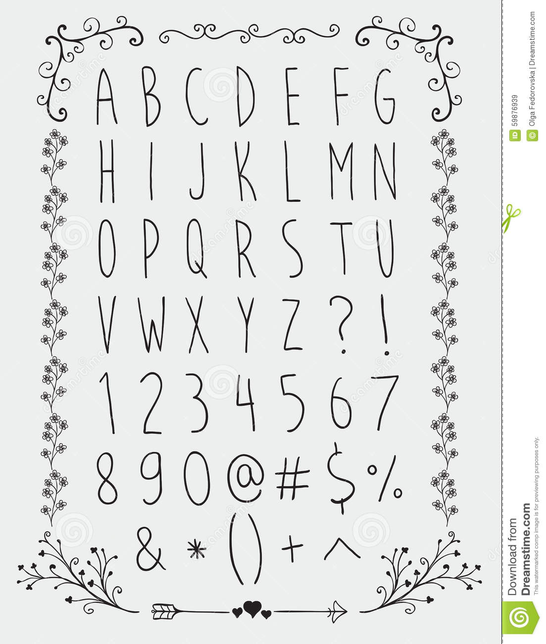 Simple Hand Drawn English Alphabet Letters And Stock
