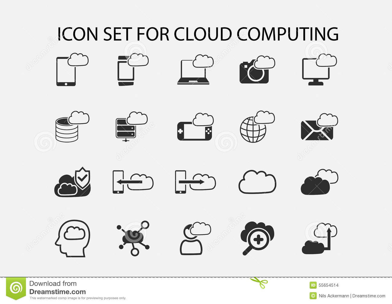 Simple Icon Set Of Cloud Computing Symbols Stock Vector