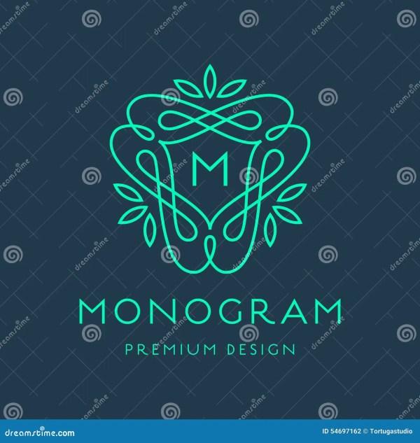 Simple Line Art Monogram Logo Design Stock Vector - Illustration Of Element Cute 54697162