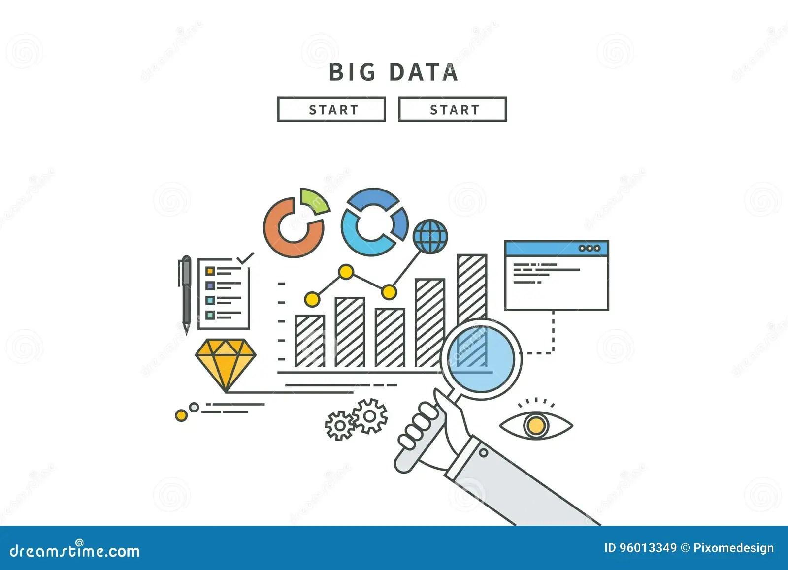 Simple Line Flat Design Of Big Data Modern Illustration