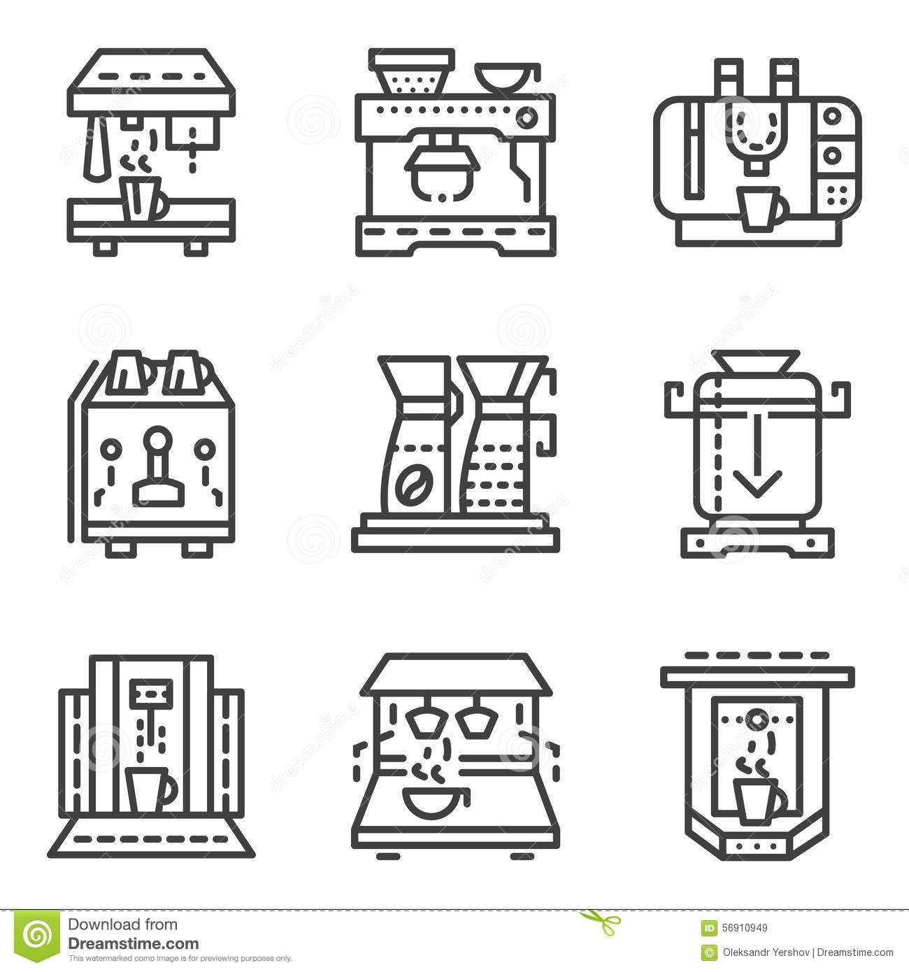 Simple Line Icons For Coffee Machines Stock Photo