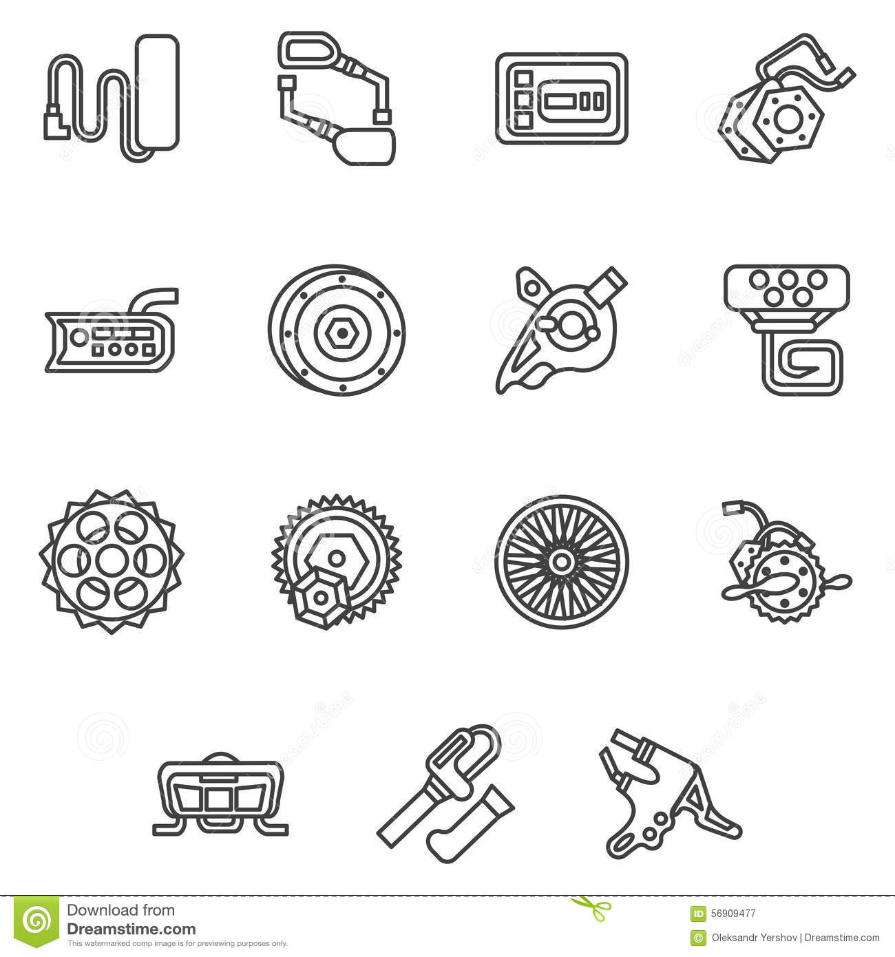 Simple Line Icons For E Bike Parts Stock Illustration