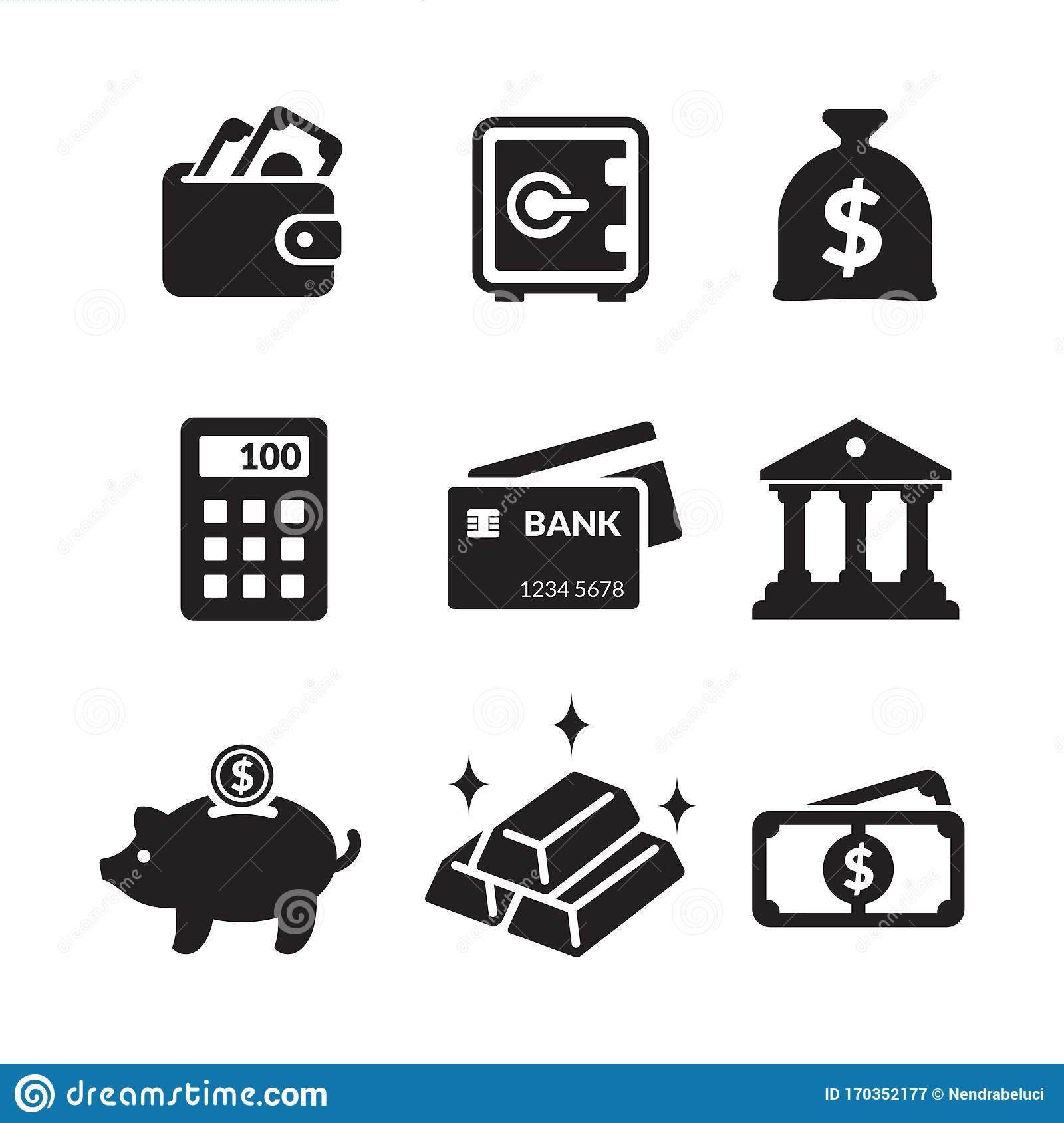 Simple Minimalist Icon Set Basic Element Of Banking Financial And Investment Activities Stock Vector Illustration Of Locker Business 170352177