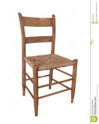 Simple Old Wooden Chair Isolated. Stock Photo - Image of ...