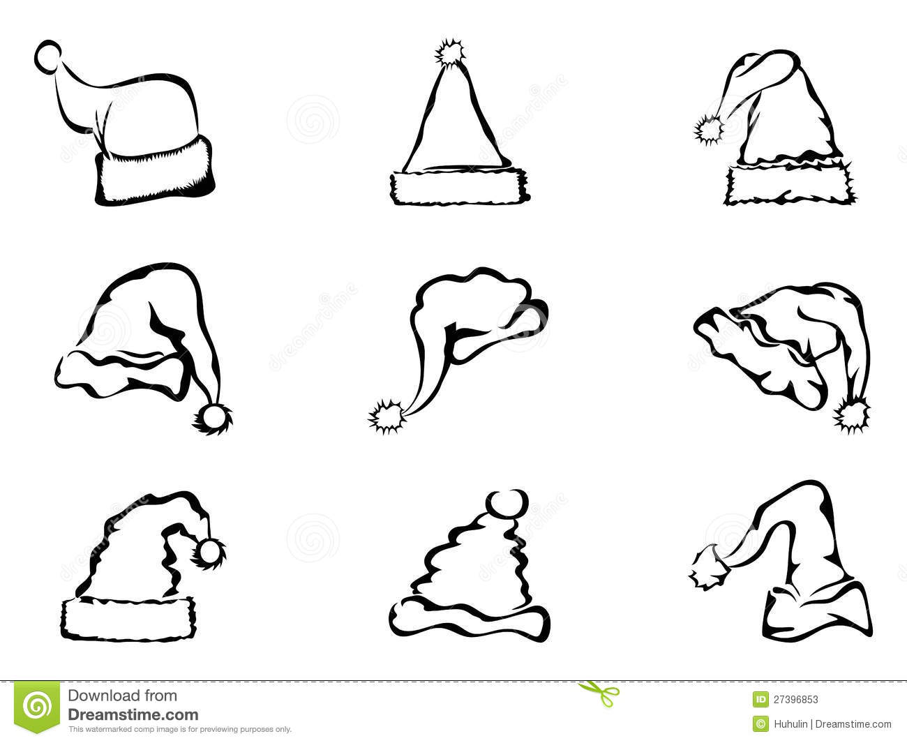Simple Outline Of Christmas Hat Stock Photos