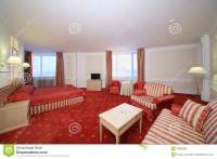Simple Room With Double Bed With Red Linen, Red Carpet