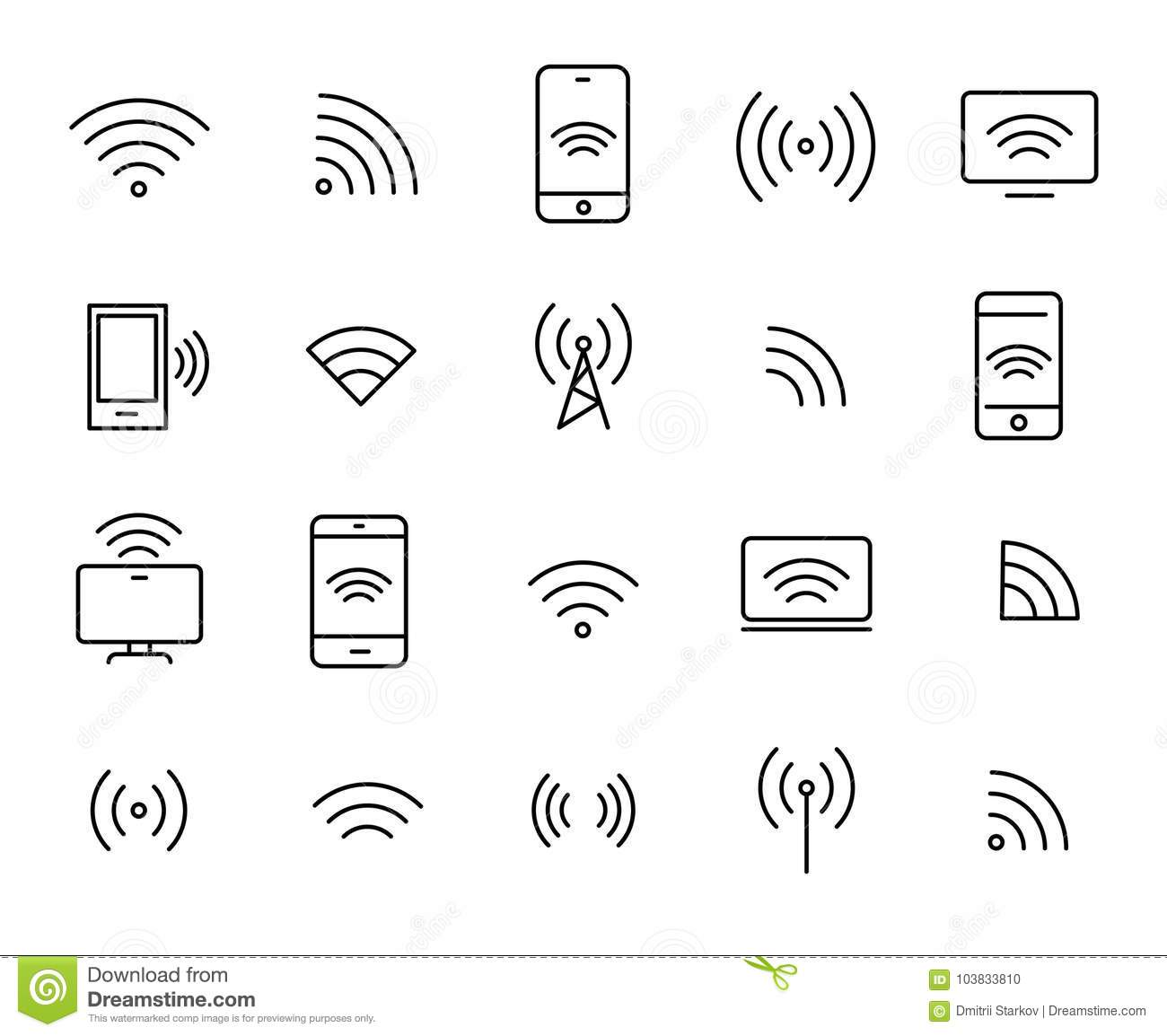 Simple Set Of Wi Fi Related Outline Icons Stock Vector