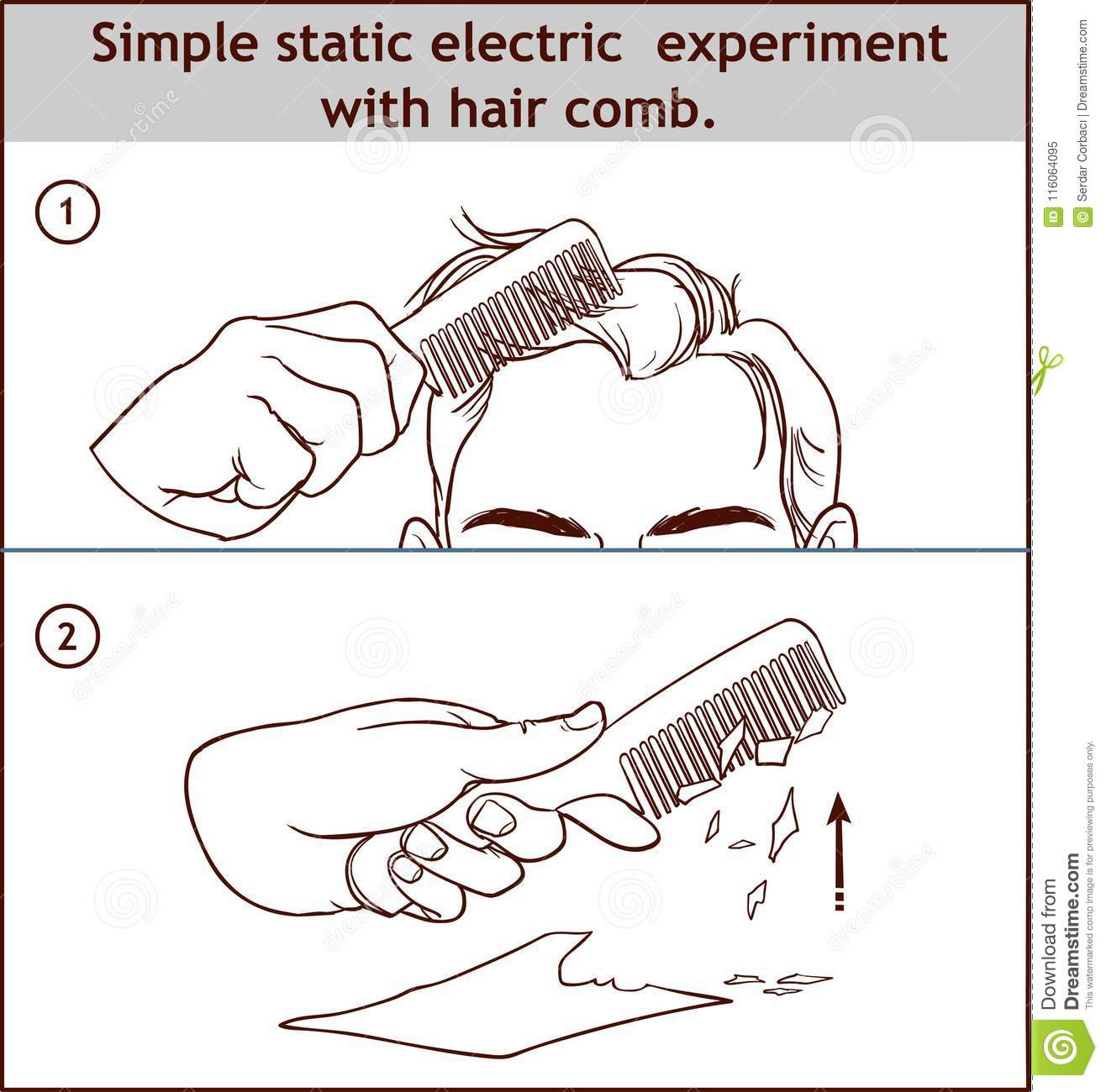 Simple Static Electric Experiment With Hair Comb Stock