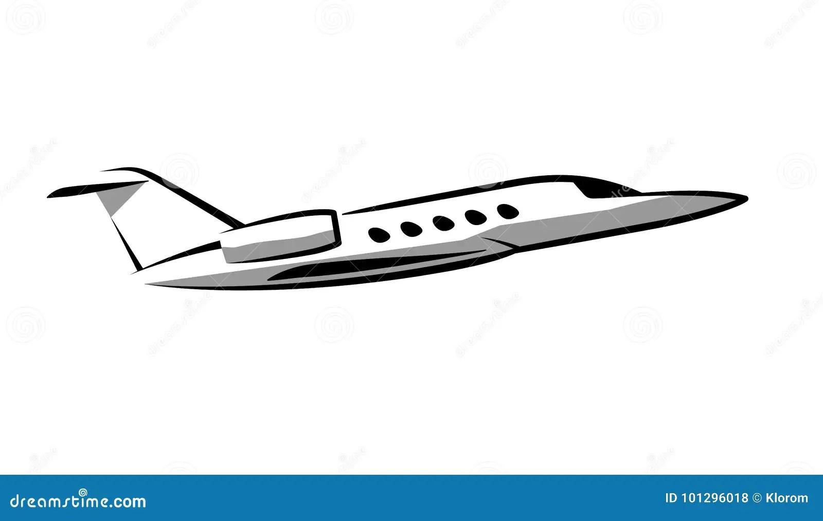 Simple Symbol Contour Private Jet Plane Stock Vector