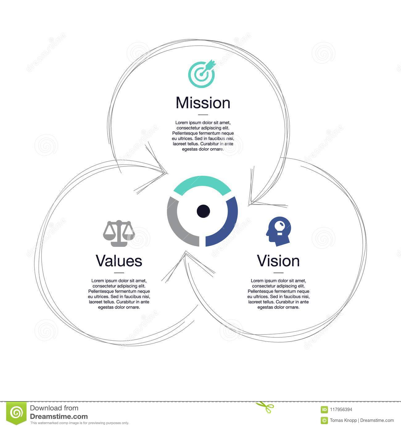 hight resolution of simple visualization for mission vision and values diagram schema isolated on light background easy to use for your website or presentation