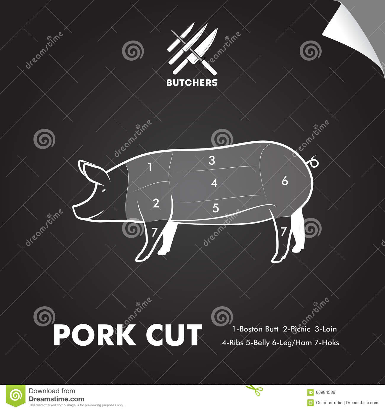 hight resolution of simply pork meat cutting diagram on blackboard sheet butchers sign