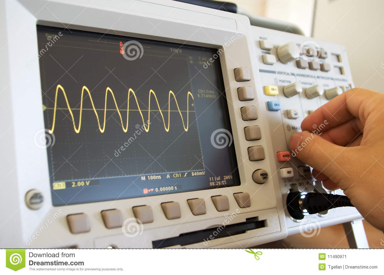 Sine Wave On Oscilloscope Screen Stock Image  Image 11490971