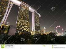Singapore Flyer With Marina Bay Sands Stock