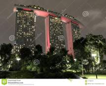 Singapore Marina Bay Sands Famous Hotel In City Stock