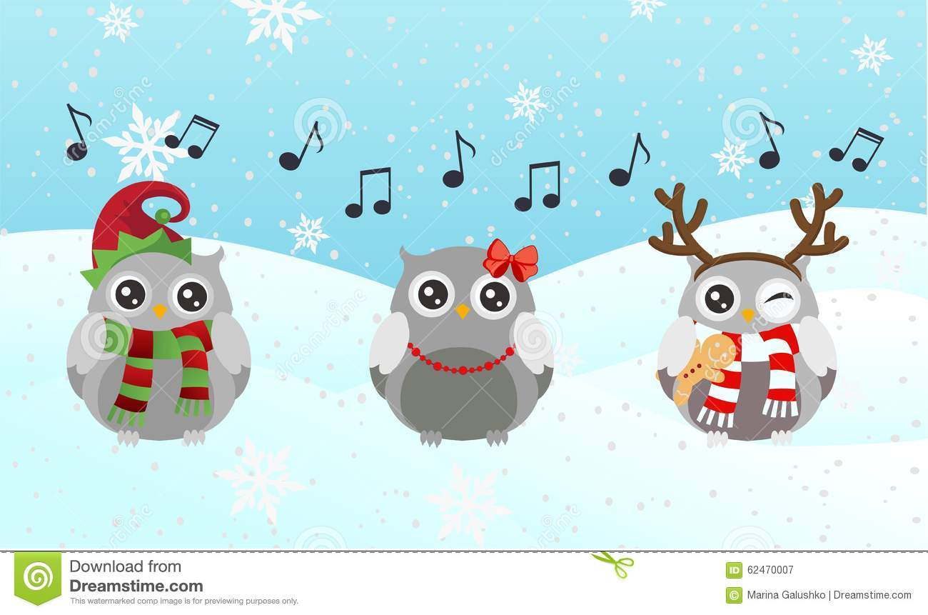 Singing Owl Merry Christmas And Happy New Year Stock