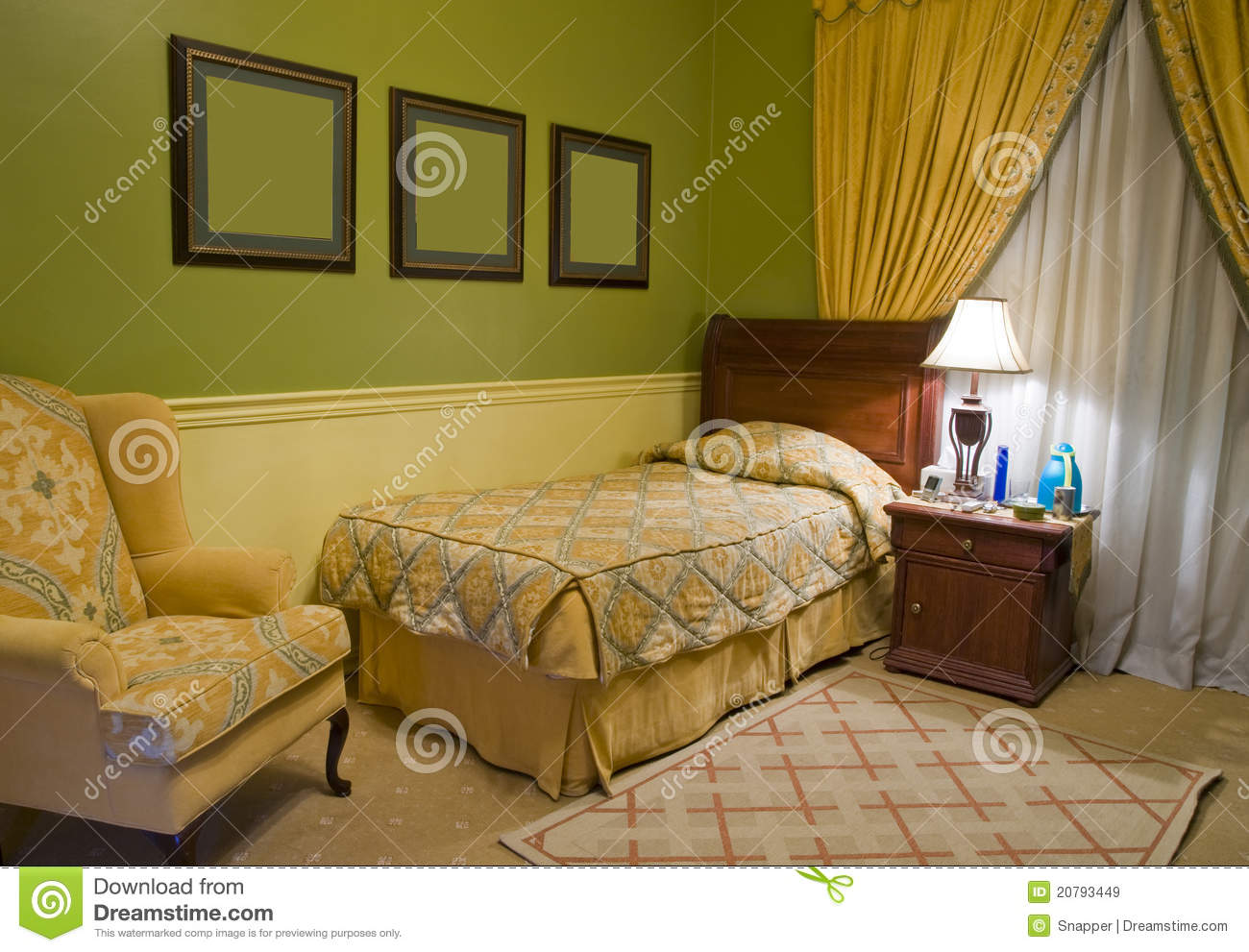 Single Bed Bedroom Royalty Free Stock Images  Image 20793449