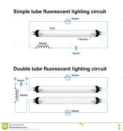 single and double tube fluorescent lighting circuit stock vectorsingle and double tube fluorescent lighting circuit simple [ 1300 x 1390 Pixel ]