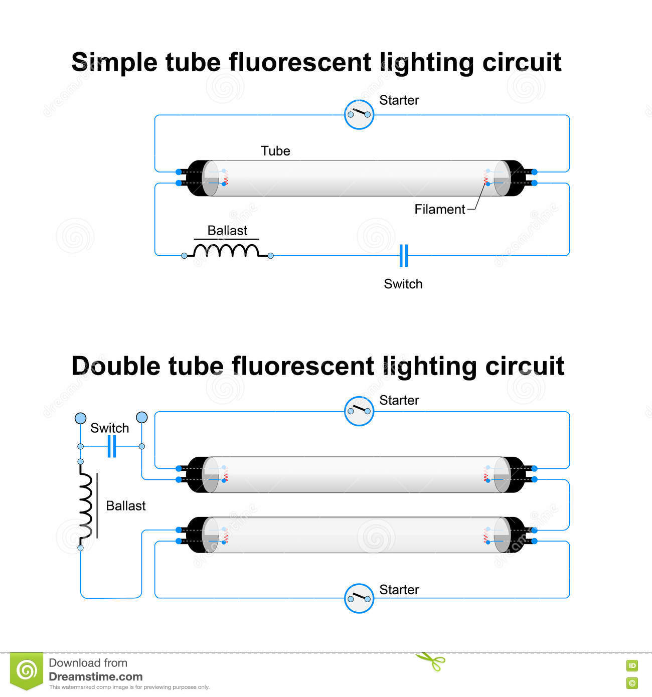 wiring diagram for led tube lights aem map sensor single and double fluorescent lighting circuit stock
