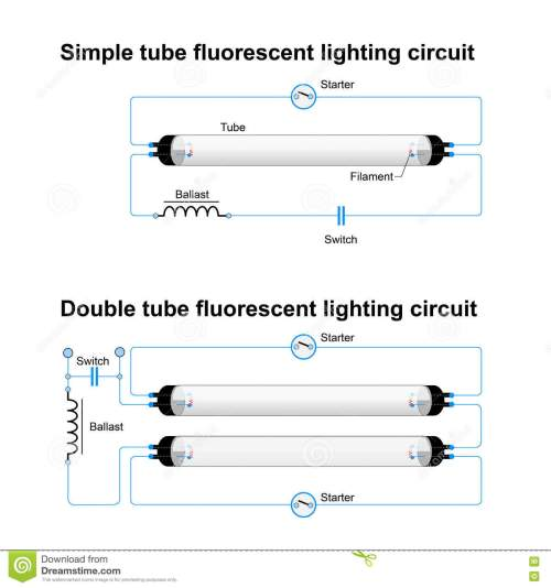 small resolution of single and double tube fluorescent lighting circuit simple vector diagram