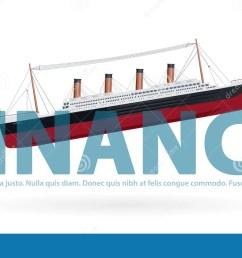 sinking titanic in finance metaphor joke paraphrase quip symbol of bad financial situation [ 1300 x 792 Pixel ]