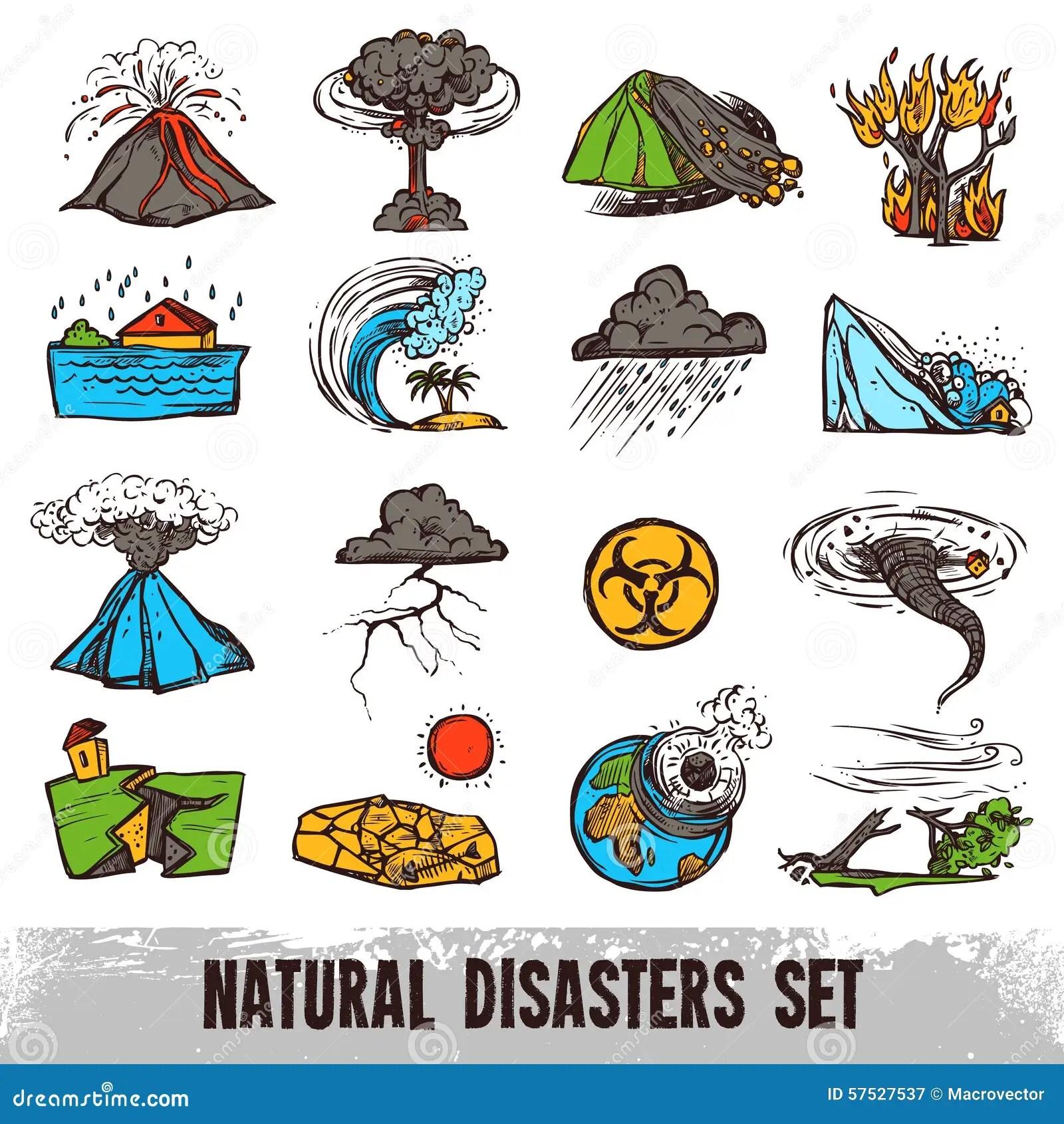Sistema De Color De Los Desastres Naturales Ilustracion