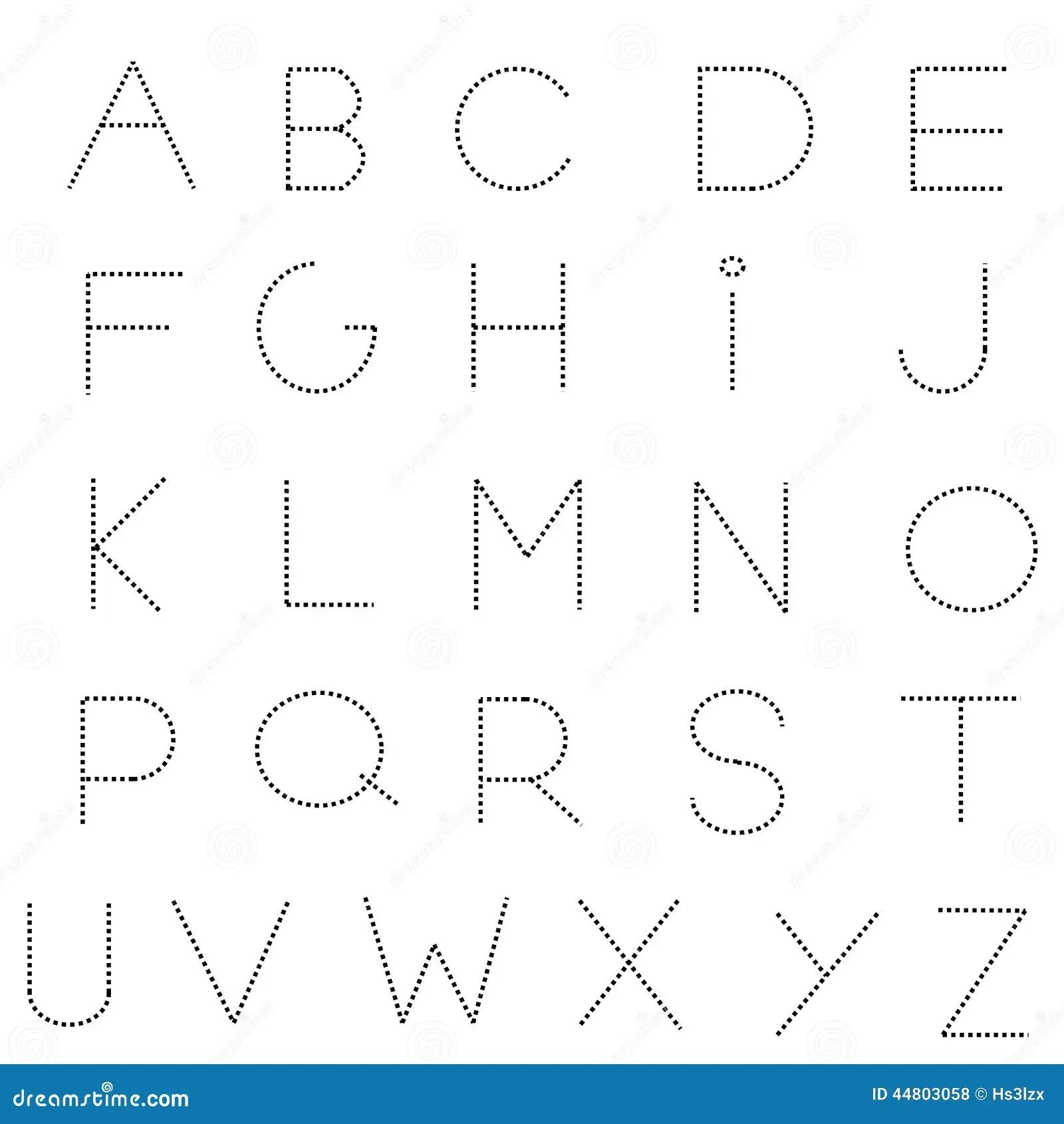 Sistema De Linea Discontinua Del Alfabeto Ilustracion Del