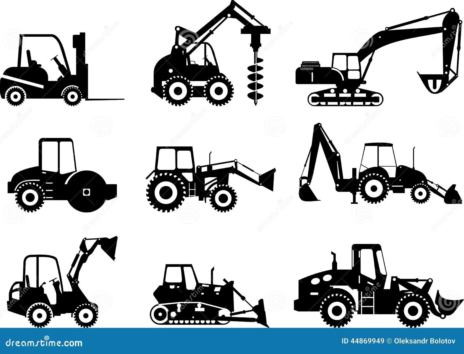 Sistema De Maquinas De La Construccion Pesada Ilustracion