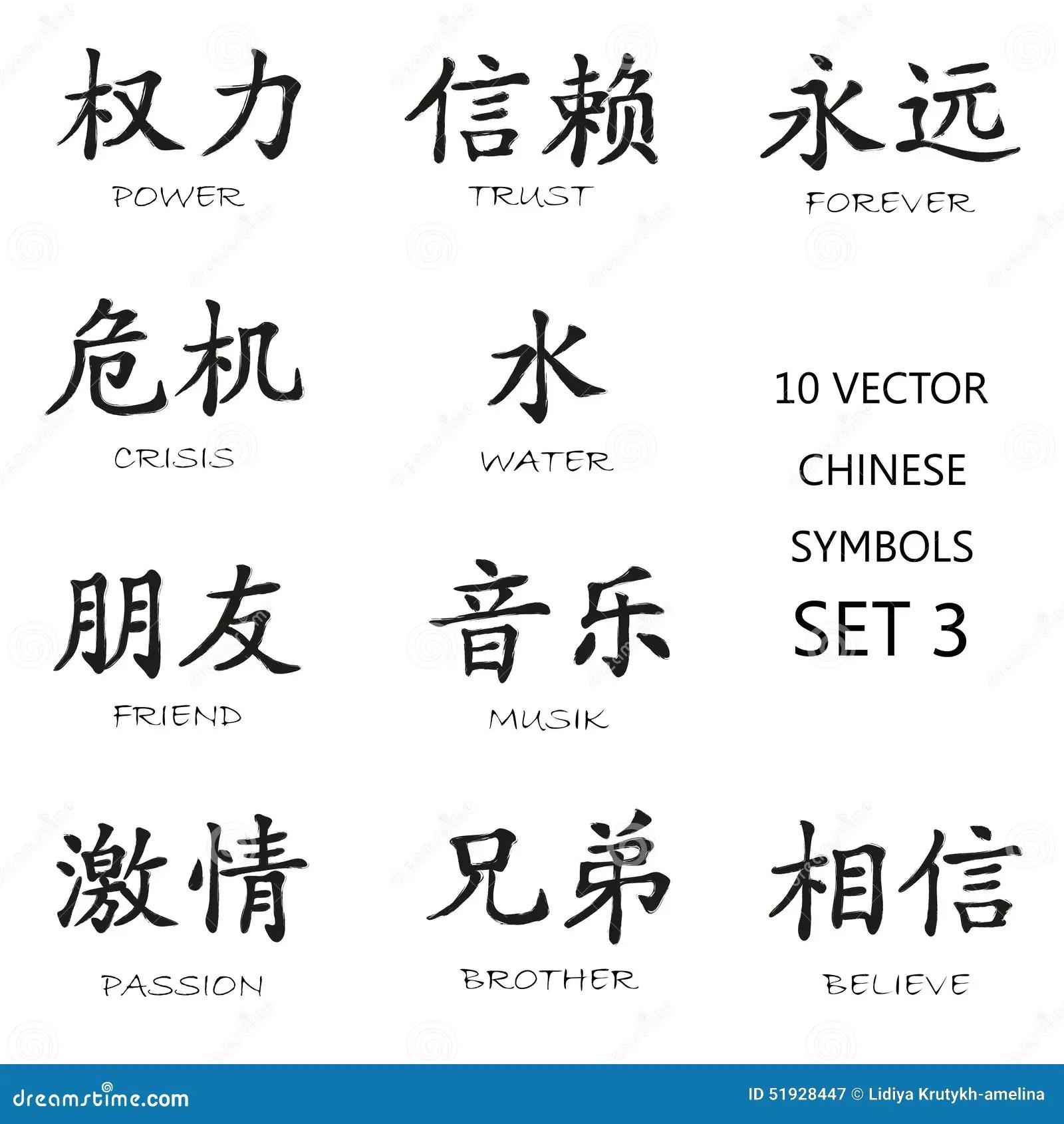 Sistema De Simbolos Chino Clasico De La Tinta 3 Stock De