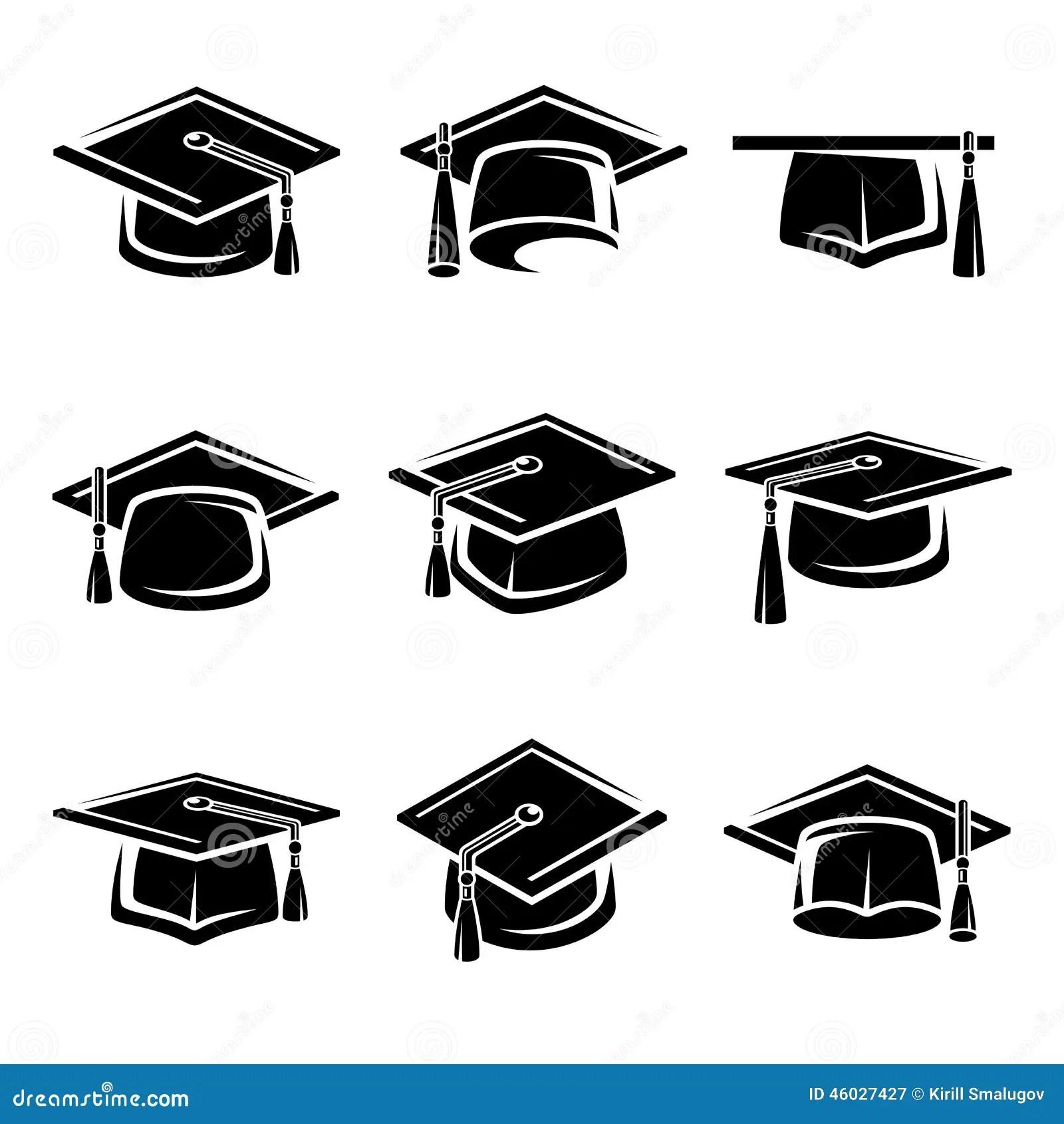 Sistema Del Casquillo De La Graduacion Vector Ilustracion