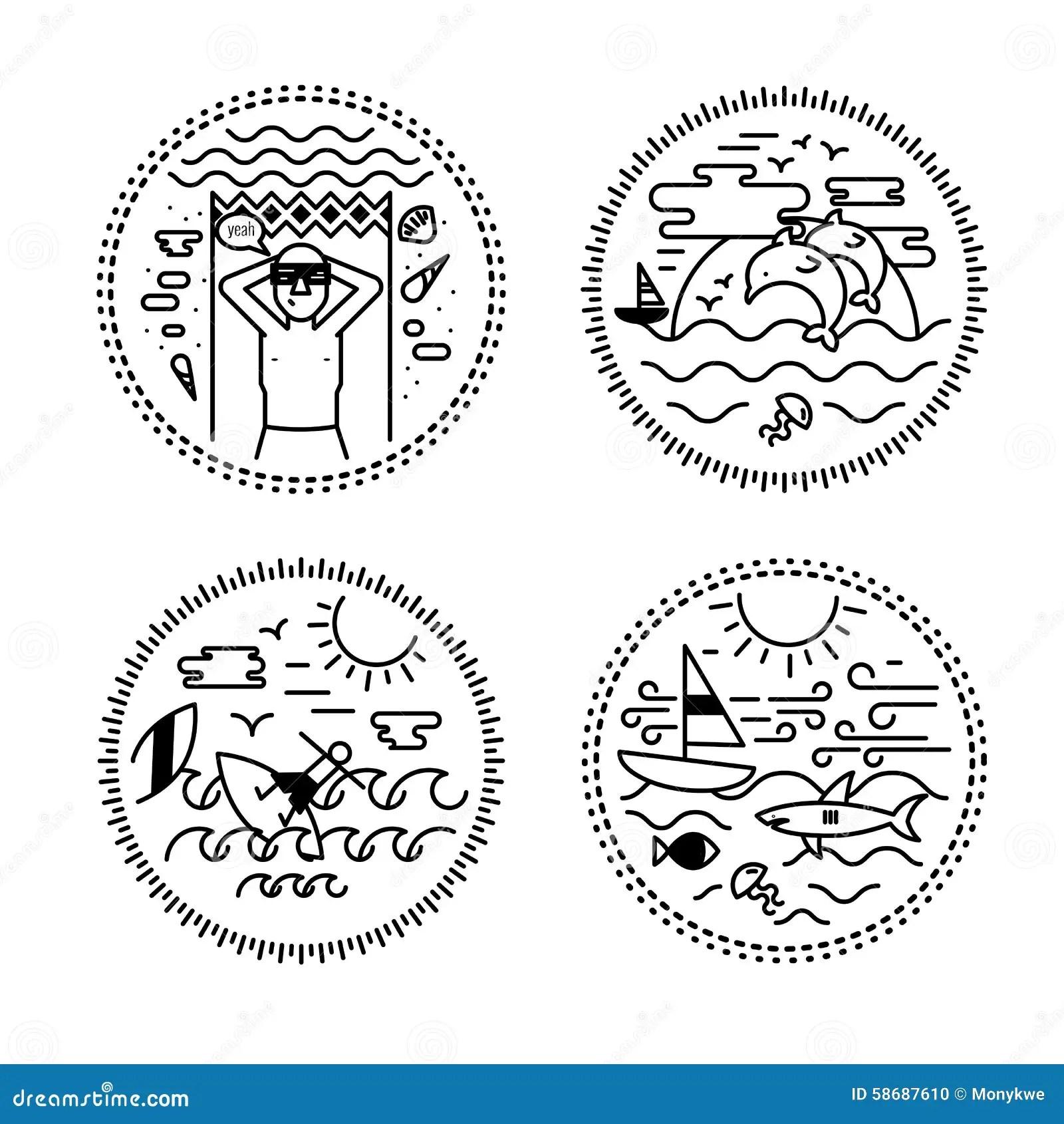 Sistema Del Diseño Del Tatuaje Y De La Etiqueta Viaje Día De Fiesta