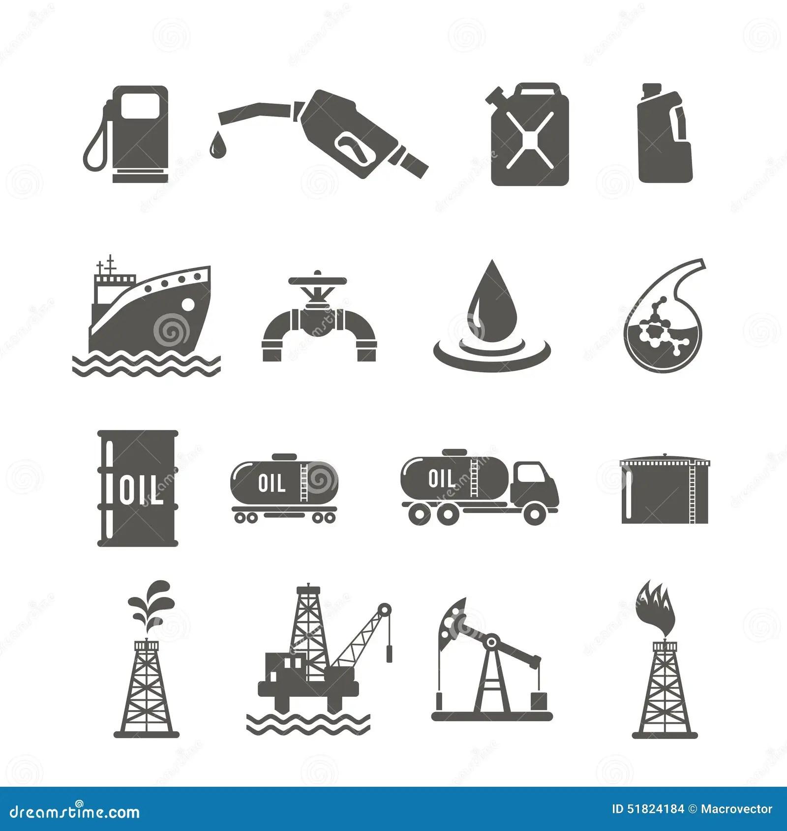 Sistema Del Icono De La Industria Petrolera Ilustracion