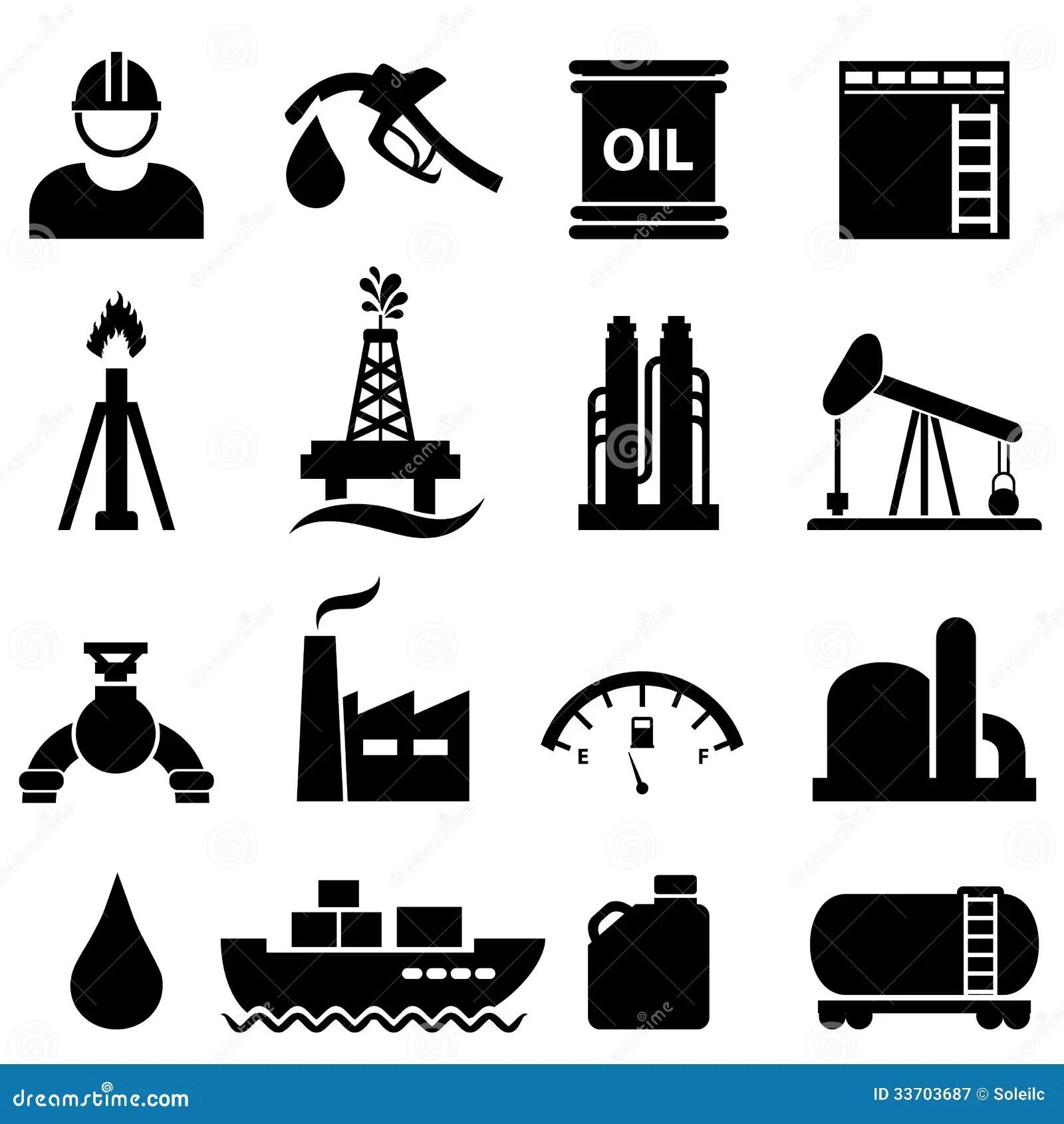 Sistema Del Icono Del Aceite Y De La Gasolina Ilustracion