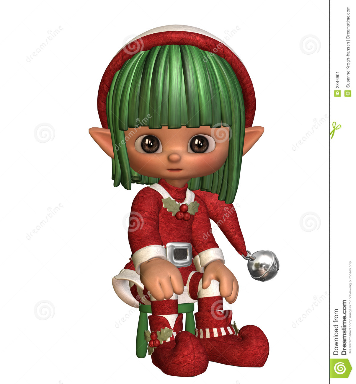 Sitting Christmas Elf Stock Illustration Image Of Hold