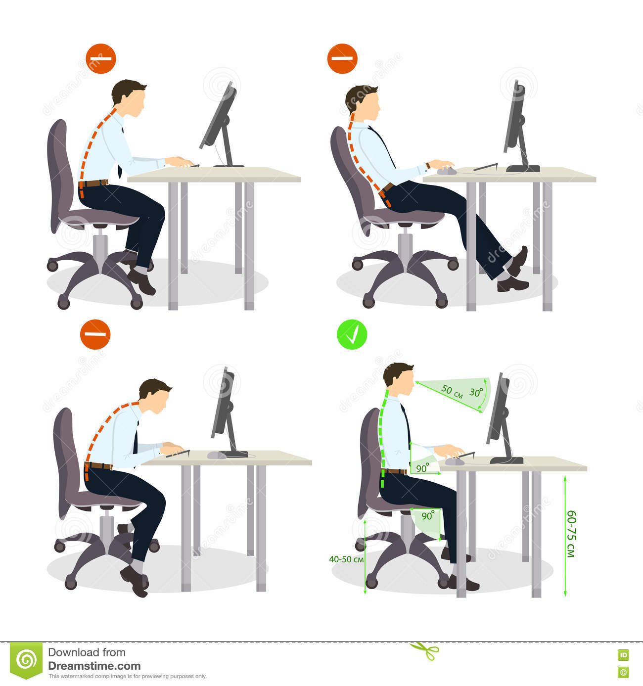 bad posture in chair desk purple sitting set stock vector illustration of