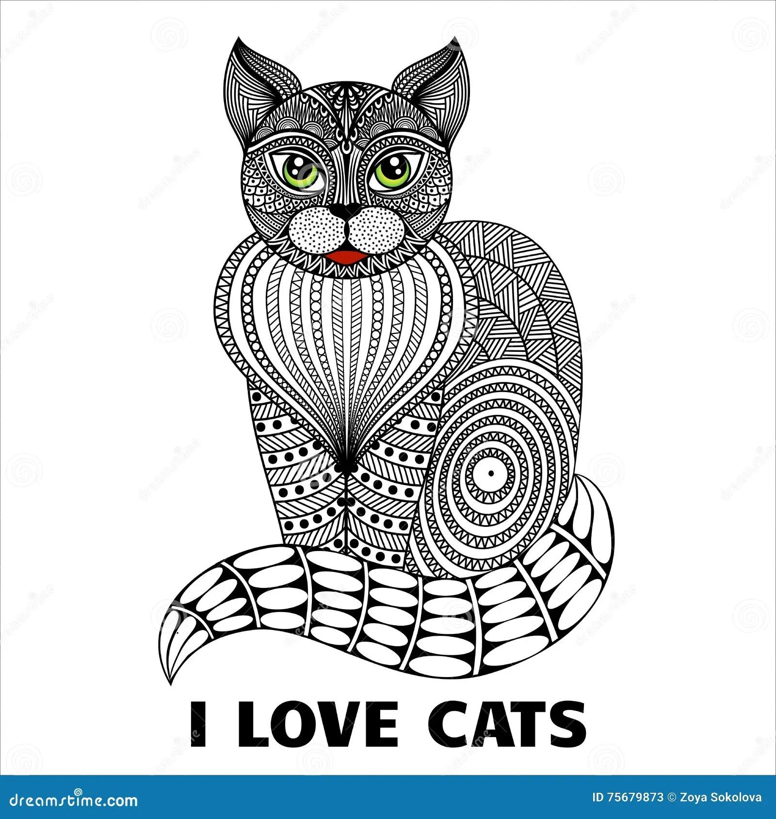 Sitzende Katze Zentangle vektor abbildung Illustration