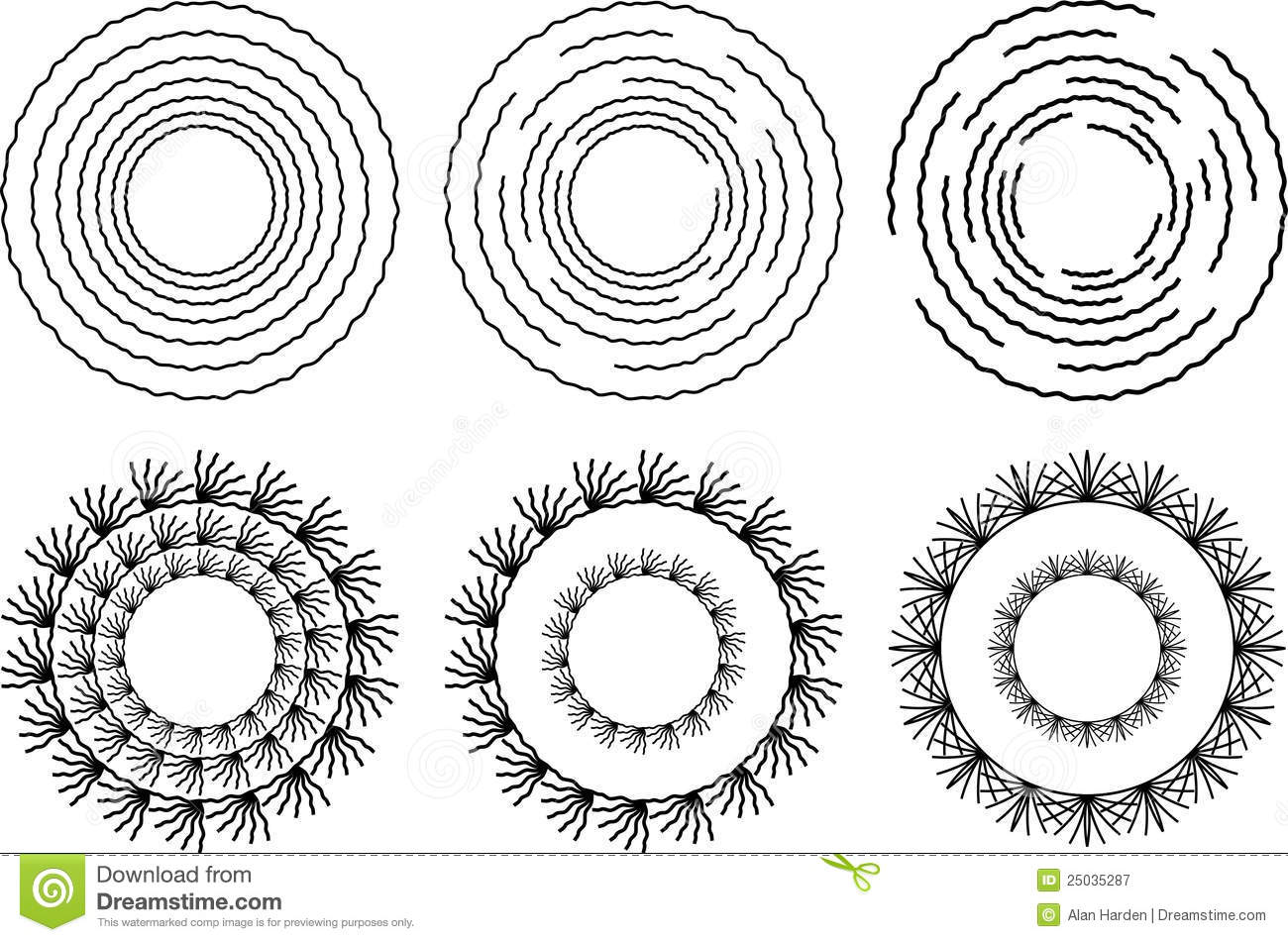 Six Circular Design Elements Royalty Free Stock