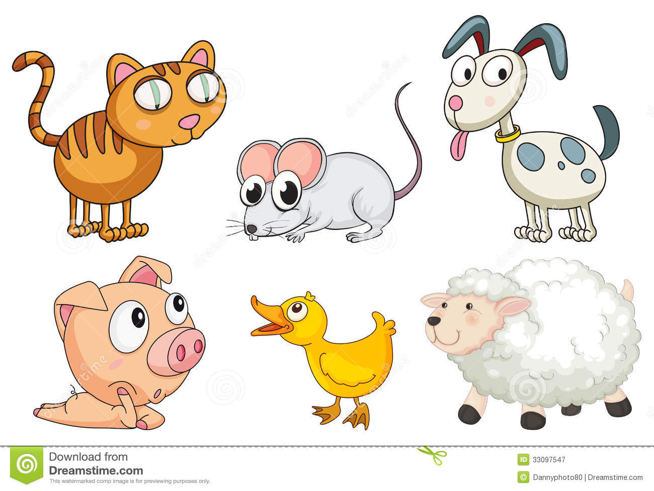 Six Different Kinds Of Animals Stock Vector
