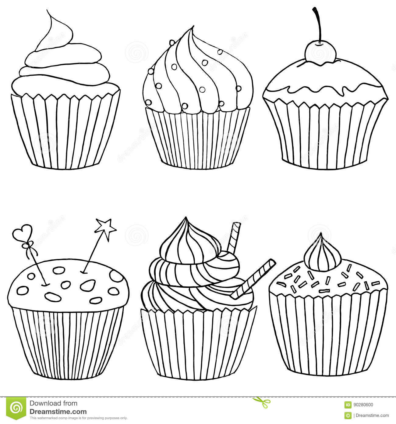 Six Images Of Cupcakes In Black And White Drawn By Hand