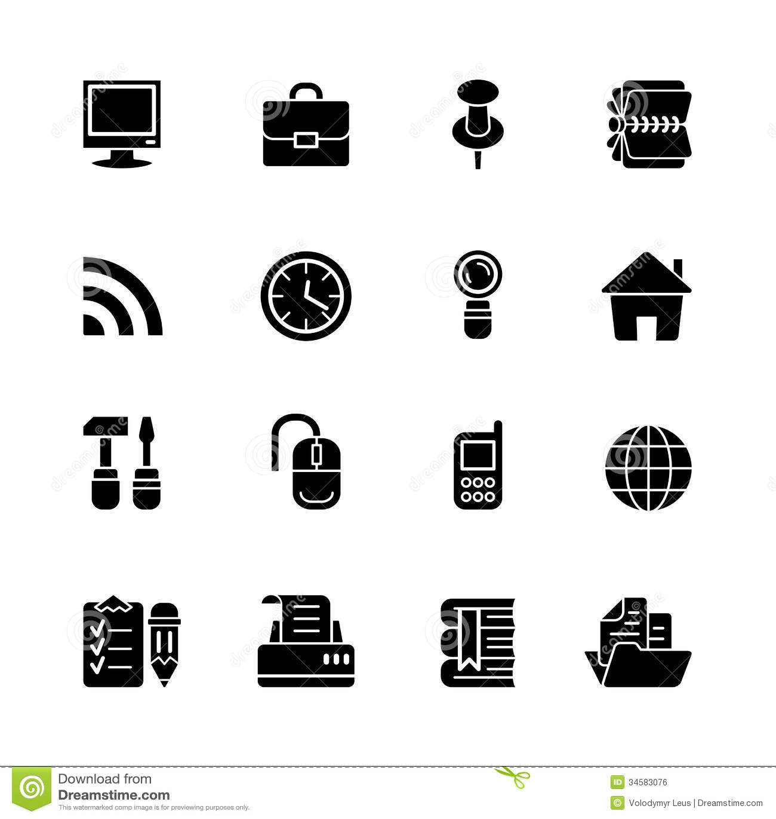 Sixteen Black Computer Icons Stock Vector